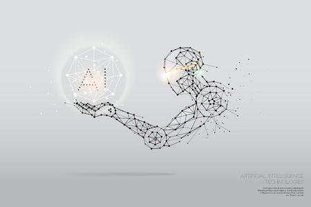 The particles, geometric art, line and dot of AI Technology. abstract vector illustration. graphic design concept of future. - line stroke weight editable 일러스트