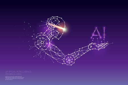 Les particules, l'art géométrique, la ligne et le point de la technologie AI. illustration vectorielle abstraite. concept de design graphique du futur. - épaisseur de trait de ligne modifiable