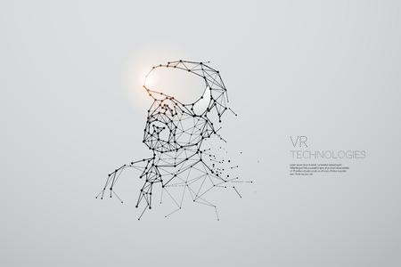Die Partikel, die geometrische Kunst, die Linie und der Punkt der abstrakten Vektorillustration der VR-Technologie. Grafikdesign-Konzept der Technologie - Strichhubgewicht editierbar