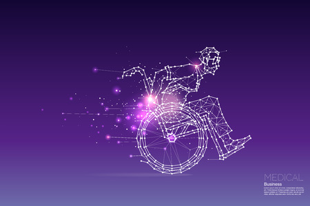 The particles, geometric art, line and dot of business man on wheelchair. abstract vector illustration. graphic design concept of medical - line stroke weight editable Illustration