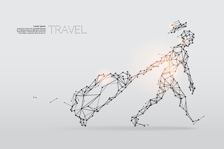 The particles, geometric art, line and dot of travel. abstract vector illustration. graphic design concept of vacation - line stroke weight editable