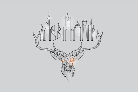The particles, geometric art, line and dot of deer head and city abstract vector illustration. graphic design concept of future living. - line stroke weight editable 일러스트