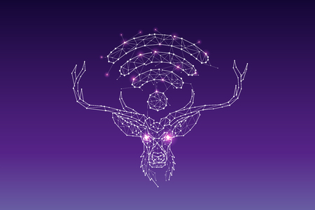 The particles, geometric art, line and dot of deer head and wifi symbol abstract vector illustration.