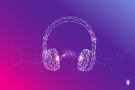 The particles, geometric art, line and dot of Headphone. abstract vector illustration. graphic design concept of listening. - line stroke weight editable Illustration