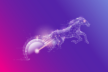 The particles, geometric art, line and dot of speed meter and horse.abstract vector illustration. graphic design concept of Speed.- line stroke weight editable
