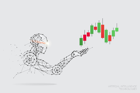 The particles, geometric art, line and dot of AI Technology. abstract vector illustration. graphic design concept of stock market. - line stroke weight editable 일러스트