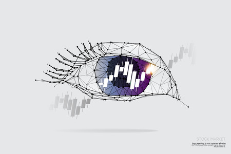 The particles, geometric art, line and dot of eye and graph.abstract vector illustration. graphic design concept of Stock market trend.- line stroke weight editable Ilustrace
