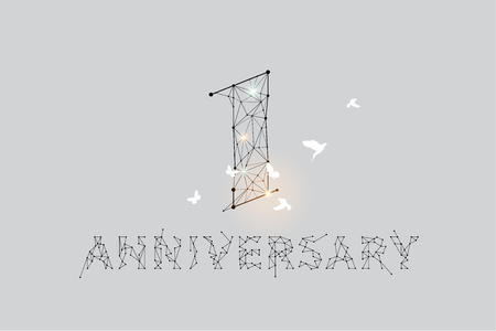 The particles, geometric art, line and dot of anniversary 1 year. abstract vector illustration.  - line stroke weight editable 일러스트