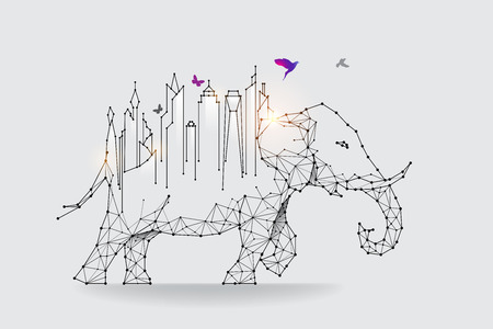The particles, geometric art, line and dot of City and elephant.
