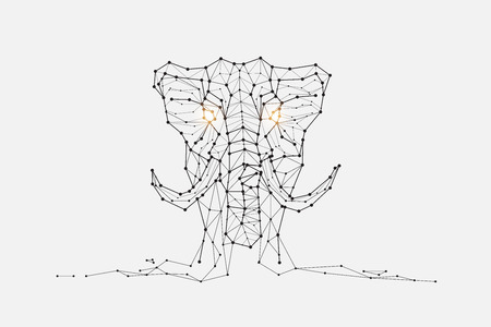 The particles, geometric art, line and dot of elephant abstract vector illustration. graphic design concept of Biggest. - line stroke weight editable