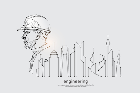 The particles, geometric art, line and dot of engineering.