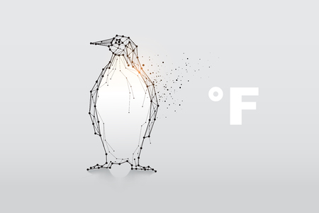 The particles, geometric art, line and dot of penguin. abstract vector illustration. the graphic design concept of temperature. - line stroke weight editable