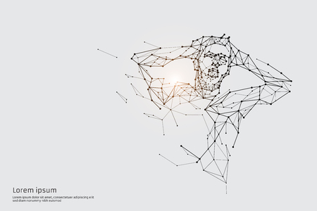 The particles, geometric art, line and dot of human. abstract vector illustration. graphic design concept of action. - line stroke weight editable