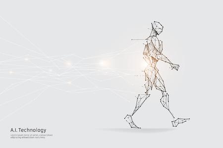 Le particelle, l'arte geometrica, la linea e il punto del camminare. illustrazione vettoriale astratta. concetto di design grafico del futuro. - peso del tratto di linea modificabile Vettoriali