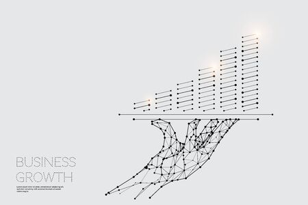 The particles, geometric art, line and dot of Hand served.abstract vector illustration. graphic design concept of business.- line stroke weight editable Ilustrace