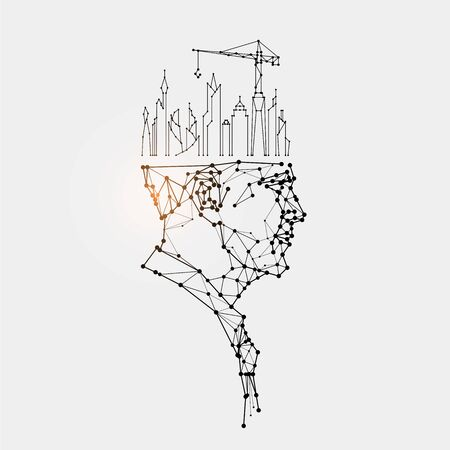 The particles, geometric art, line and dot of human head. abstract vector illustration. graphic design concept of thinking. - line stroke weight editable Ilustrace