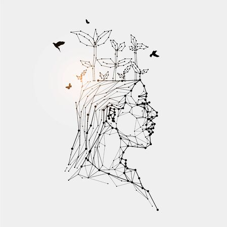 The particles, geometric art, line and dot of human head. abstract vector illustration. graphic design concept of thinking.