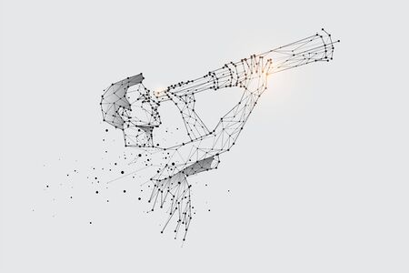 The particles, geometric art, line and dot of watching the telescope.abstract vector illustration. graphic design concept of business vision.- line stroke weight editable