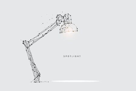 The particles, geometric art, line and dot of lamp lighting.abstract vector illustration. graphic design concept of spot light.- line stroke weight editable Ilustrace