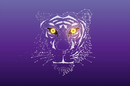 The particles, geometric art, line and dot of tiger head.abstract vector illustration. graphic design concept of animal.- line stroke weight editable