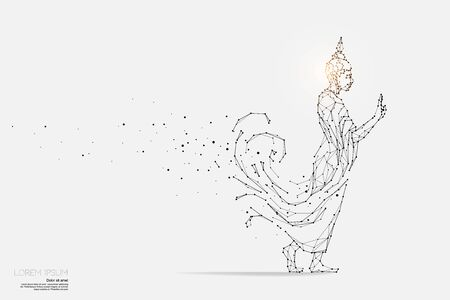 The particles, geometric art, line and dot of Buddha.abstract vector illustration. graphic design concept of religion.- line stroke weight editable