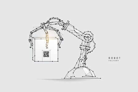 The particles, geometric art, line and dot of Robot arm.abstract vector illustration. graphic design concept of logistic.- line stroke weight editable