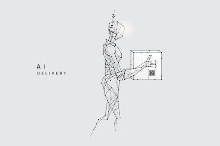 The particles, geometric art, line and dot of Robot delivery.abstract vector illustration. graphic design concept of Artificial Intelligence technology.- line stroke weight editable