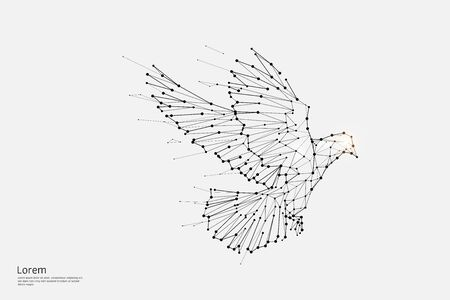 The particles, geometric art, line and dot of bird flying.abstract vector illustration. graphic design concept of freedom.- line stroke weight editable