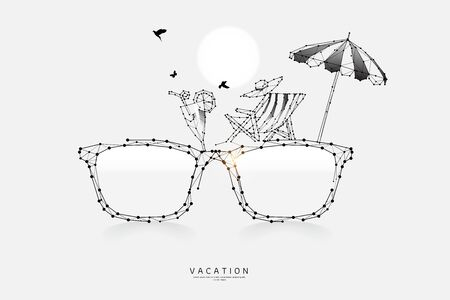 The particles, geometric art, line and dot of eyeglass.abstract vector illustration. graphic design concept of vacation.- line stroke weight editable Ilustrace