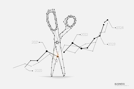 The particles, geometric art, line and dot of Business graph. abstract vector illustration. graphic design concept of risk. - line stroke weight editable