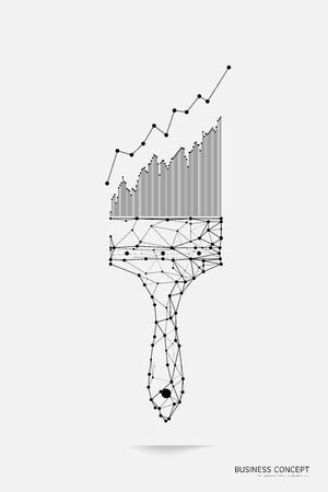 The particles, geometric art, line and dot of painting brush. abstract vector illustration. graphic design concept of stock market. - line stroke weight editable