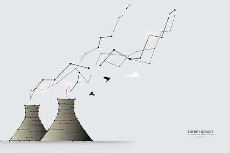 The particles, geometric art, line and dot of factory.abstract vector illustration. graphic design concept of business.- line stroke weight editable Ilustrace