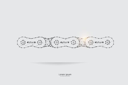The particles, geometric art, line and dot of Chain.abstract vector illustration. graphic design concept of strong.- line stroke weight editable