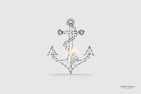 The particles, geometric art, line and dot of Anchor.abstract vector illustration. graphic design concept of Standpoint.- line stroke weight editable
