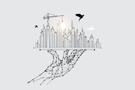 The particles, geometric art, line and dot of city building.abstract vector illustration. graphic design concept of construction.- line stroke weight editable
