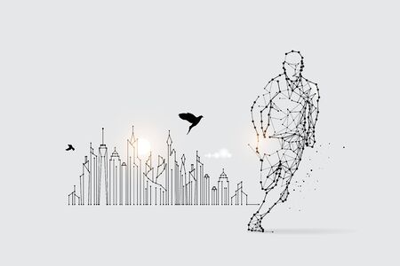 The particles, geometric art, line and dot of running.abstract vector illustration. graphic design concept of sport.- line stroke weight editable