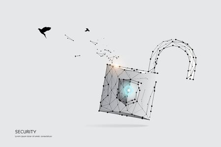 The particles, geometric art, line and dot of Key.abstract vector illustration. graphic design concept of Protection.- line stroke weight editable Ilustrace