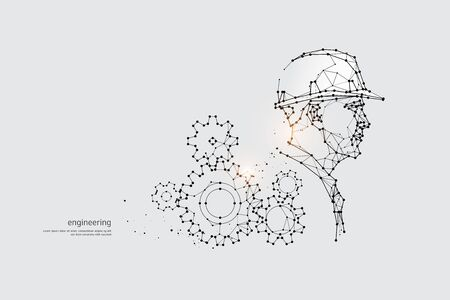 The particles, geometric art, line and dot of Engineering.abstract vector illustration. graphic design concept of Technology.- line stroke weight editable Ilustrace
