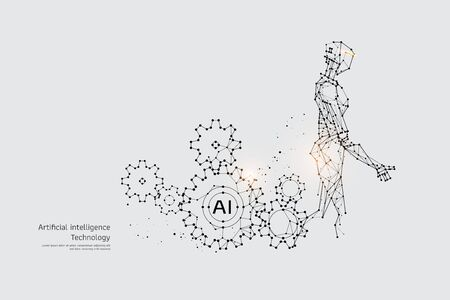 The particles, geometric art, line and dot of Gear and Robot.abstract vector illustration. graphic design concept of Technology.- line stroke weight editable