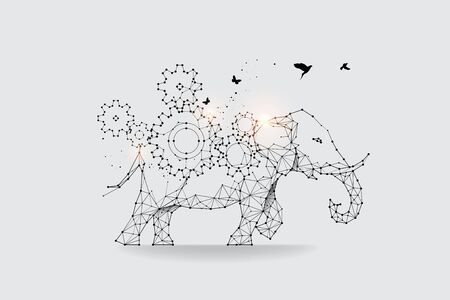 The particles, geometric art, line and dot of Gear and Elephant.