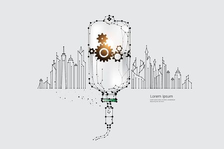 The particles, geometric art, line and dot of Medical city concept.abstract vector illustration. graphic design concept of industrial business.- line stroke weight editable Ilustrace