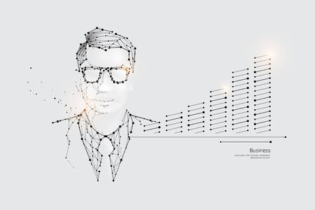 The particles, geometric art, line and dot of Business worker.abstract vector illustration. graphic design concept of Business growth.- line stroke weight editable
