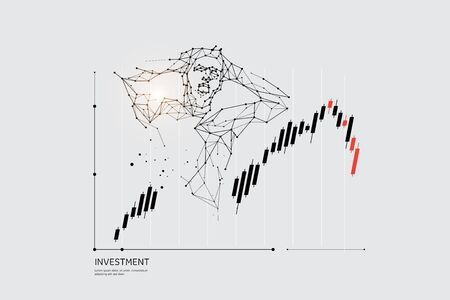 The particles, geometric art, line and dot of stock market.abstract vector illustration. graphic design concept of Investment.- line stroke weight editable