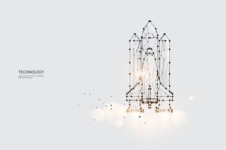 The particles, geometric art, line and dot of Space Shuttle.abstract vector illustration. graphic design concept of Technology.- line stroke weight editable Ilustrace
