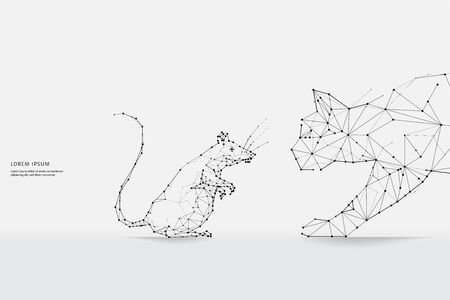 The particles, geometric art, line and dot of Cat and Rat.abstract vector illustration. graphic design concept of hunting.- line stroke weight editable