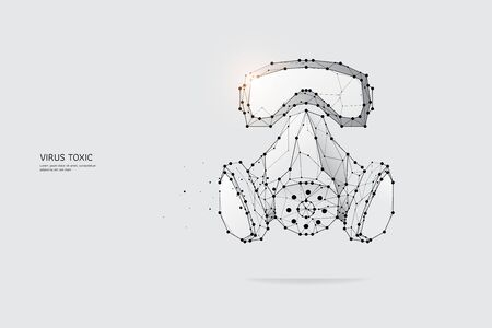 The particles, geometric art, line and dot of Protection mask.abstract vector illustration. graphic design concept of Virus.- line stroke weight editable Ilustrace
