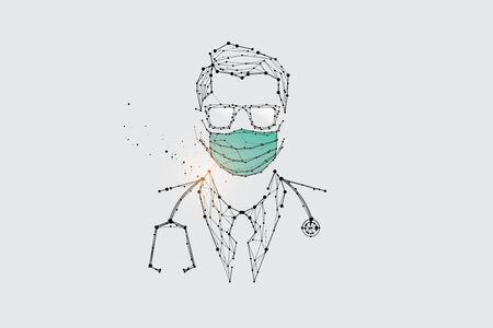 The particles, geometric art, line and dot of human with mask for virus protection.