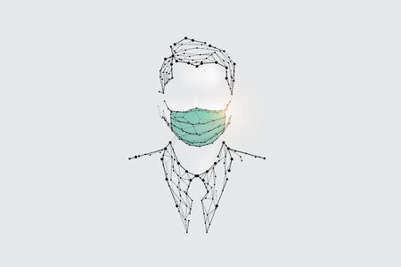 The particles, geometric art, line and dot of human with mask for virus protection.abstract vector illustration. graphic design concept of medical.- line stroke weight editable Ilustrace