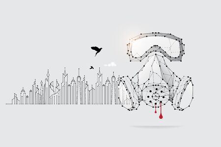 The particles, geometric art line and dot of protection.abstract vector illustration. concept of danger.- line stroke weight editable