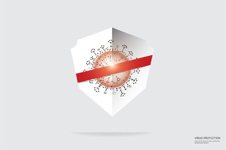 The particles, geometric art line and dot of virus protection.